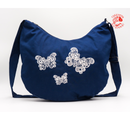 Szervető-laced butterfly half moon bag - blue