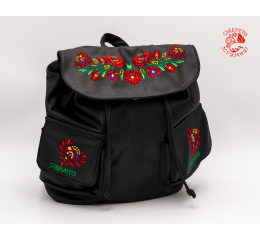 Szervető-matyó textile leather backpack - black