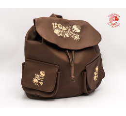 Szervető-kalocsai textile leather backpack - brown & beige