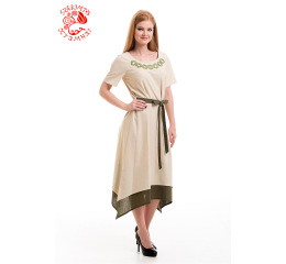 Réka dress with Szervető-endless pattern - beige-green