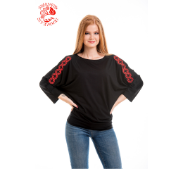 Szervető-endless braid bat sleeve blouse - black