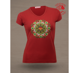 Solstice O-neck T-shirt - terracotta red & green