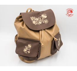 Szervető-kalocsai textile leather backpack - beige & brown