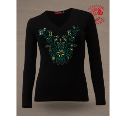 Szervető-jazygia V-neck long sleeve T-shirt - black & green