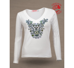 Szervető-jazygia V-neck long sleeve T-shirt - white & green