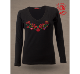 Szervető-matyó V-neck long sleeve T-shirt - black