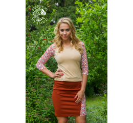 Galgóci 3/4 sleeve top - brown